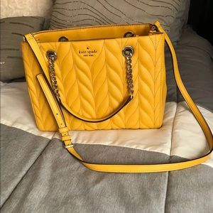 Kate Spade Yellow quilted Leather Bag